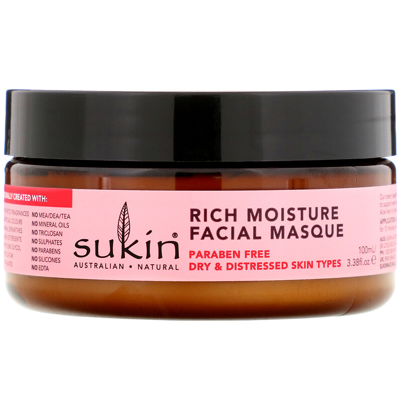 Sukin, Rich Moisture Facial Masque, Rosehip, 3.38 fl oz (100 ml) 2 PACK