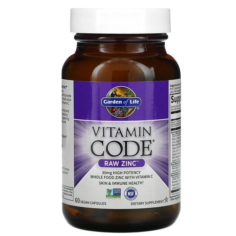 Garden of Life, Vitamin Code, RAW Zinc, 60 Vegan Capsules