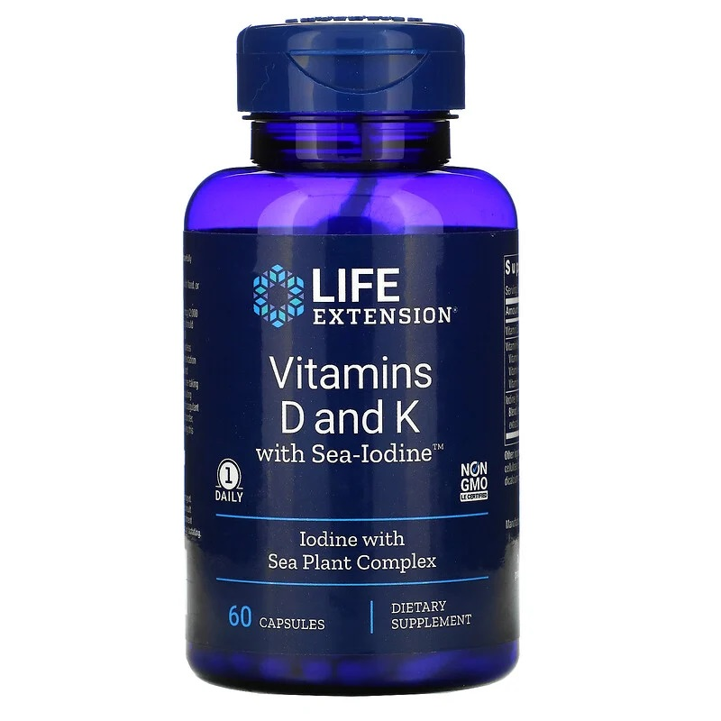 Life Extension, Vitamins D and K with Sea-Iodine, 125 mcg (5,000 IU), 60 Vegan Capsules