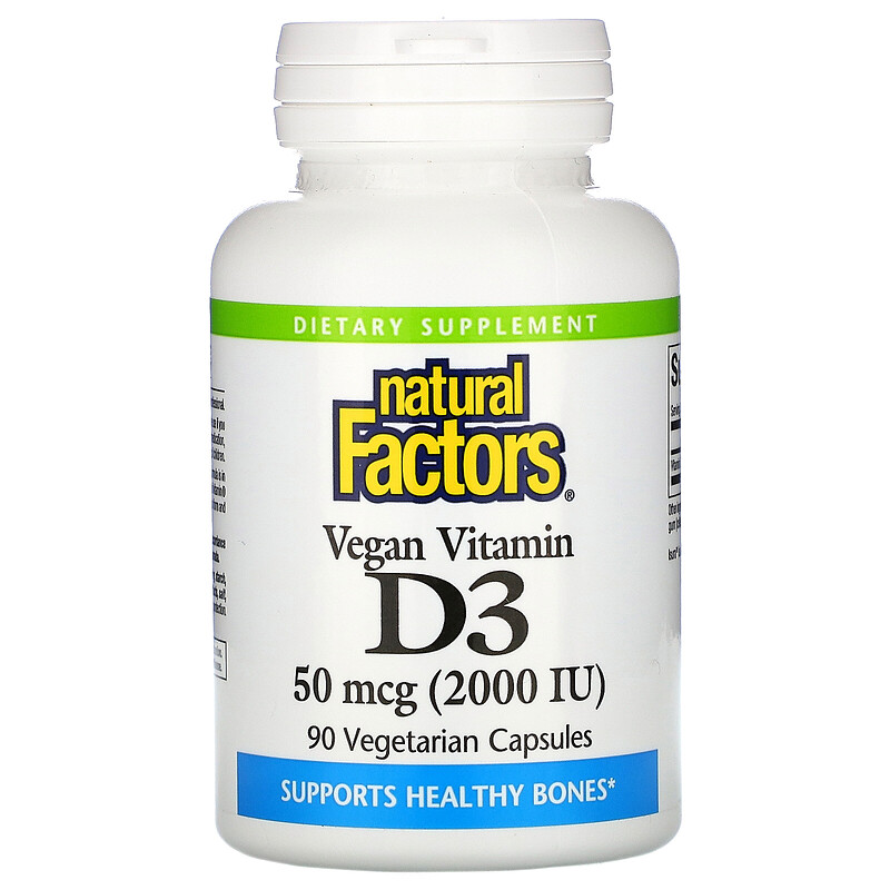 Natural Factors, Vegan Vitamin D3, 50 mcg (2,000 IU), 90 Vegan Capsules