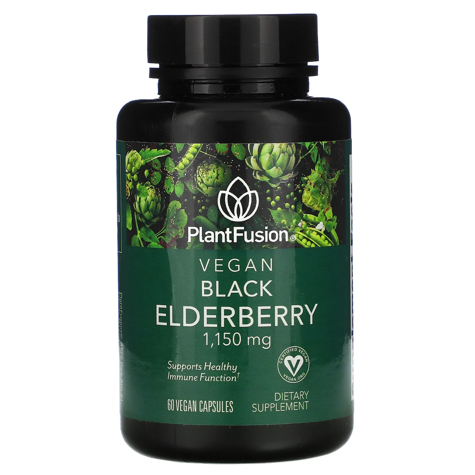 PlantFusion, Vegan Black Elderberry, 1,150 mg, 60 Vegan Capsules