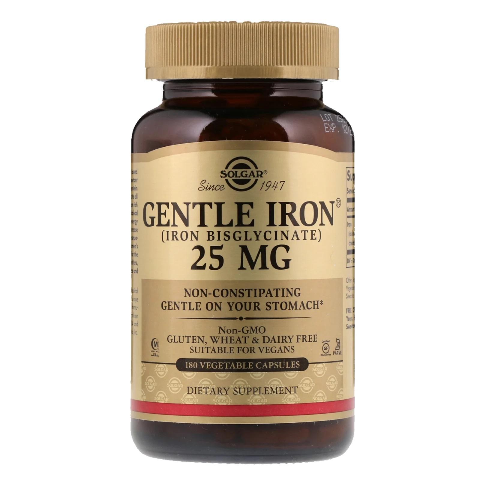 Solgar, Gentle Iron, 25 mg, 180 Vegan Capsules