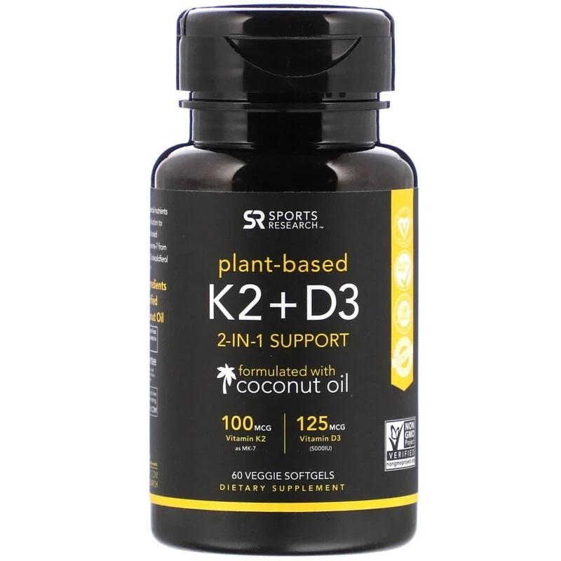 Sports Research, Vitamin K2 + D3, 60 Vegan Softgels